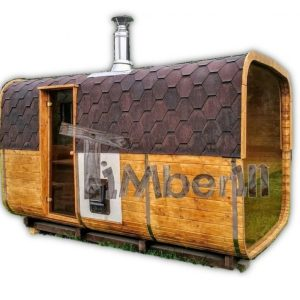 Outdoor barrel rectangular wooden sauna