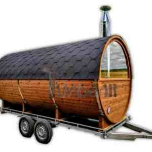 Outdoor mobile sauna on wheels