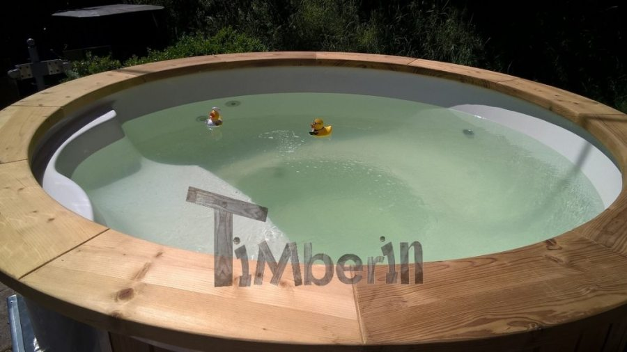 Hot tub from polypropylene with open benches