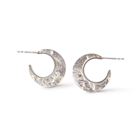 Kleine Statement-Creolen »Mond« aus 925er Silber