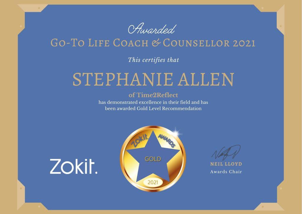 Stephanie Allen Zokit Gold Award June 2021