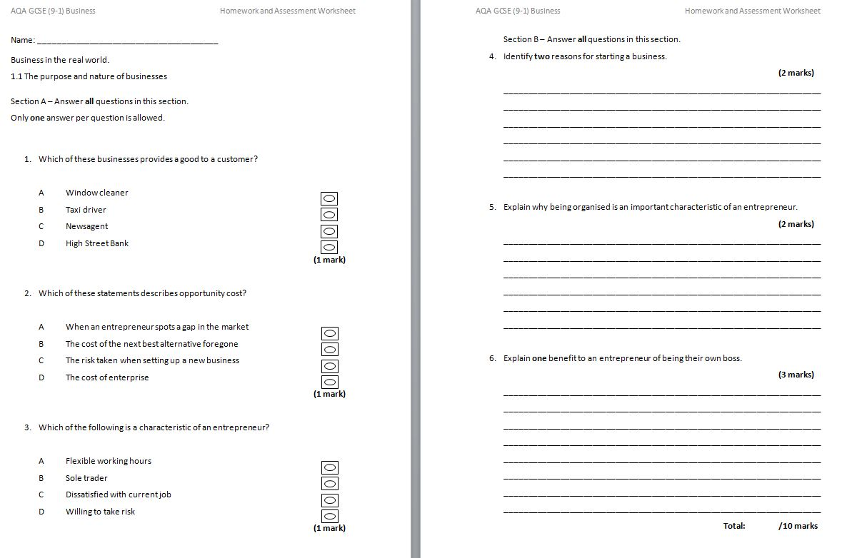 Gcse 9 1 Aqa Business Homework And Assessment Worksheets