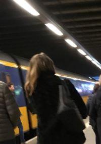 Hairspray on a train girl