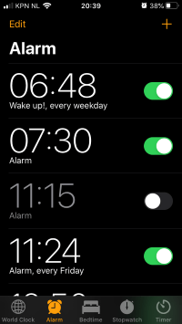 multi snoozes and alarms on phone