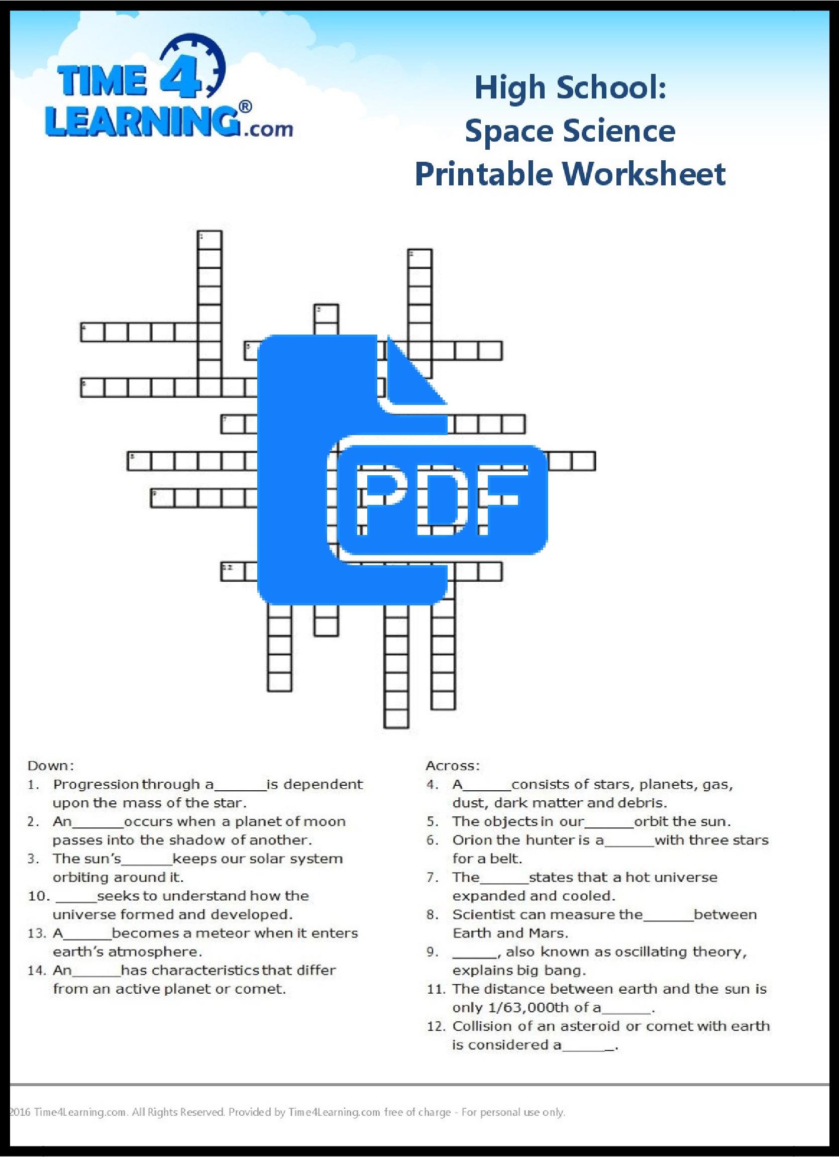 Planet Worksheet Middle School