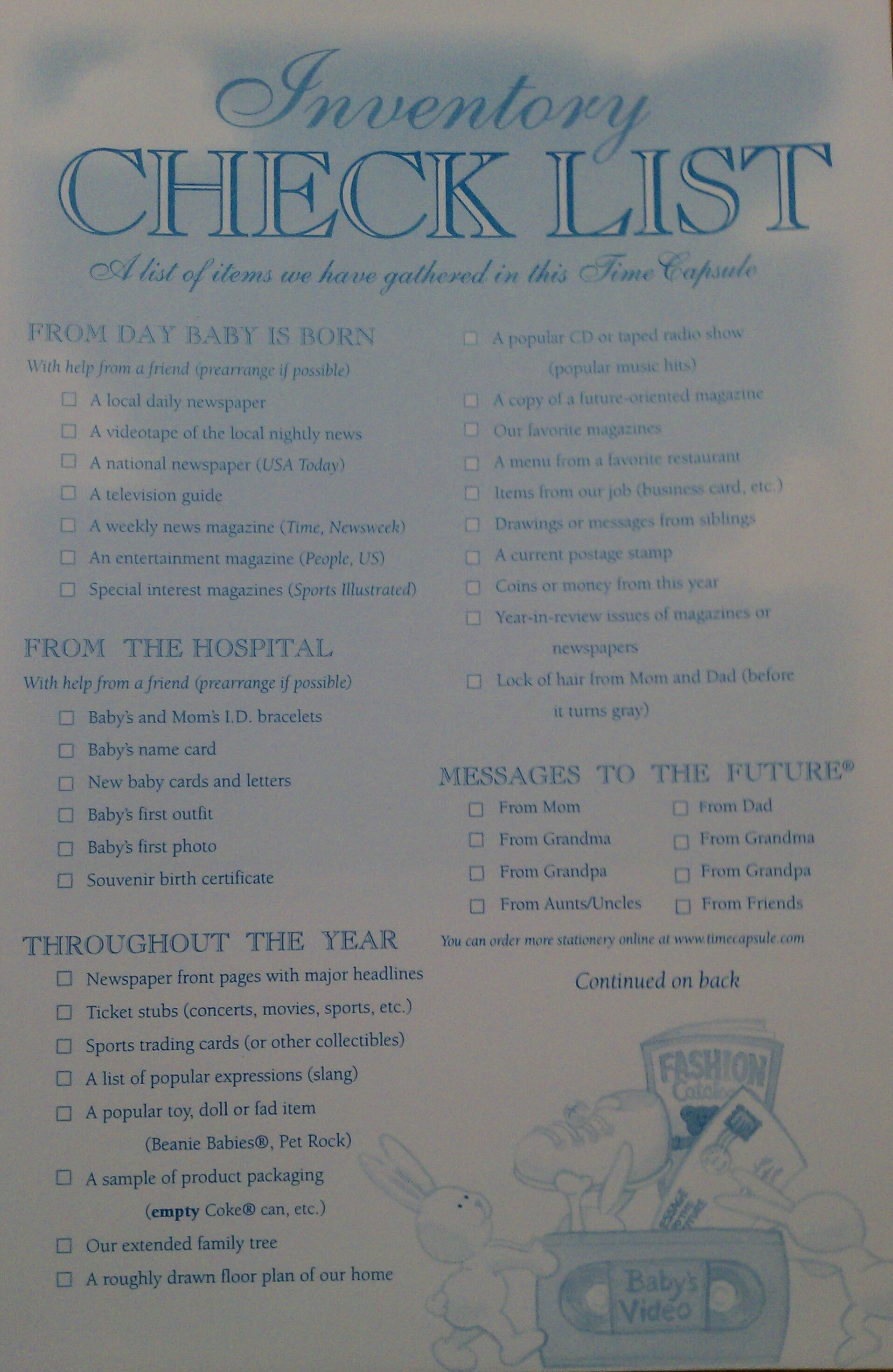 Baby Time Capsule On Pinterest: Baby Time Capsule - Inventory Checklist