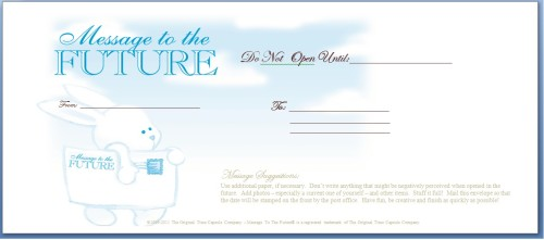 baby time capsule - Message To The Future Envelope