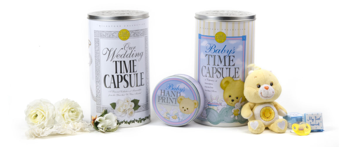 Baby Time Capsule and Wedding Time Capsule with Hand Print Kit