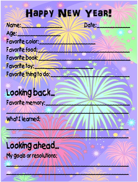 New Year's Time Capsule About Me Questionnaire