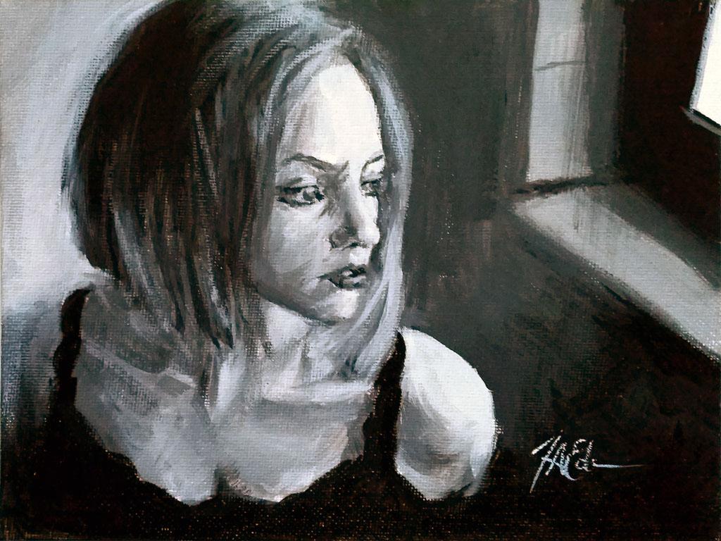 Tim Eden. Waiting Value Study, 2015. Acrylic on canvas panel, 6″ x 8″