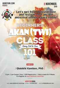 Intensive Intro Conversational Akan (Twi) Classes 101 [Ongoing] November 9, 2019