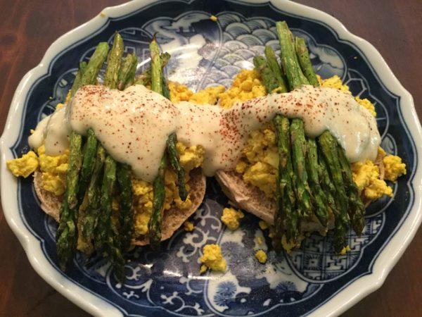 Tofu Eggs Benedict with Roasted Asparagus