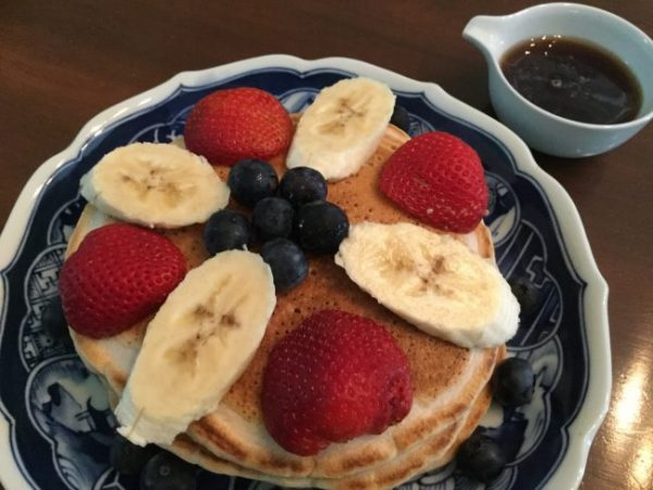 Oil-Free, Sugar-Free, 100% Whole Grain Banana-Pecan Pancakes