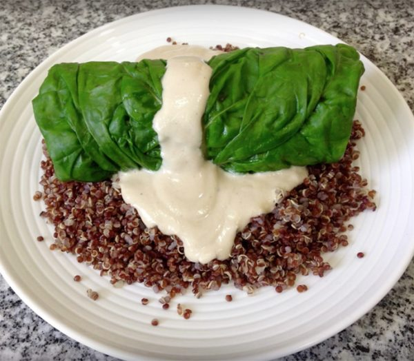 Swiss Chard Leaves Stuffed with Indian Masala Potatoes On Red Quinoa with Creamy Tahini Sauce