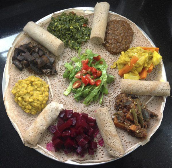 Ethiopian Vegetarian (Vegan) Plate