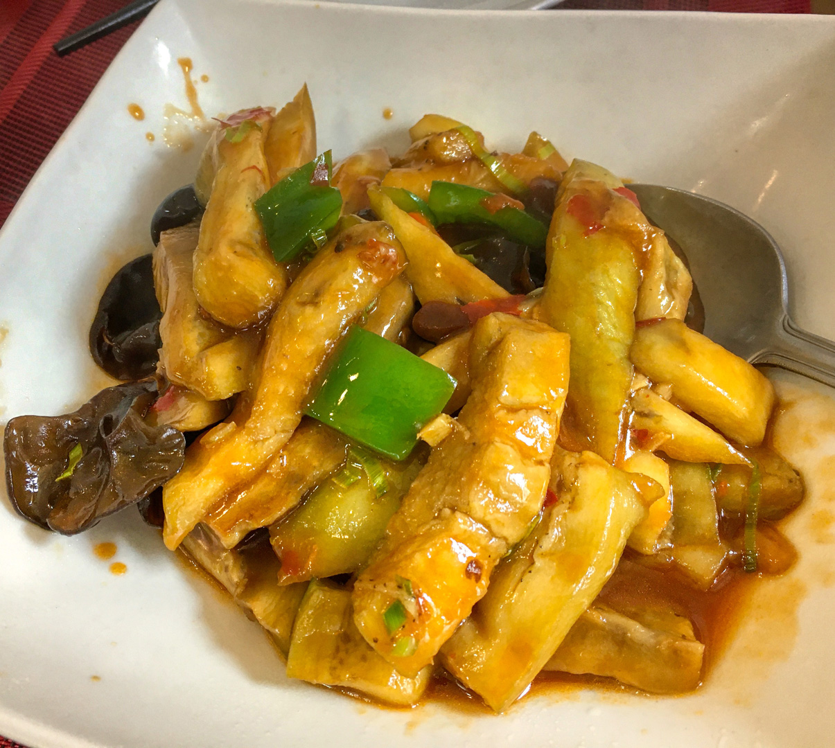 Hui Kitchen's Authentic Chinese Braised Eggplant with Tree Mushrooms