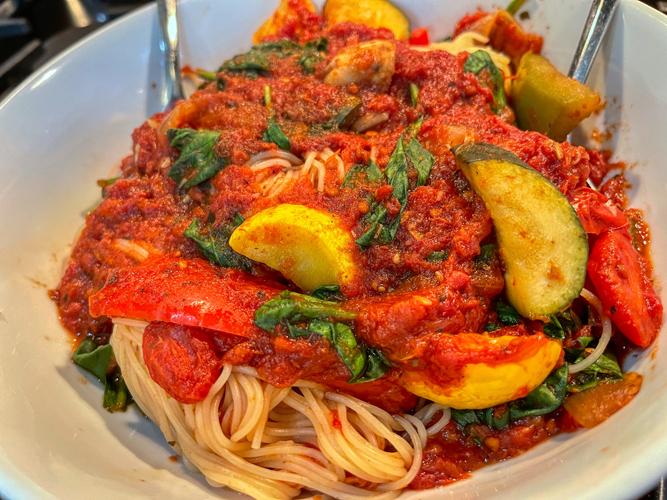 Tomato Sauce with Sautéed Summer Vegetables