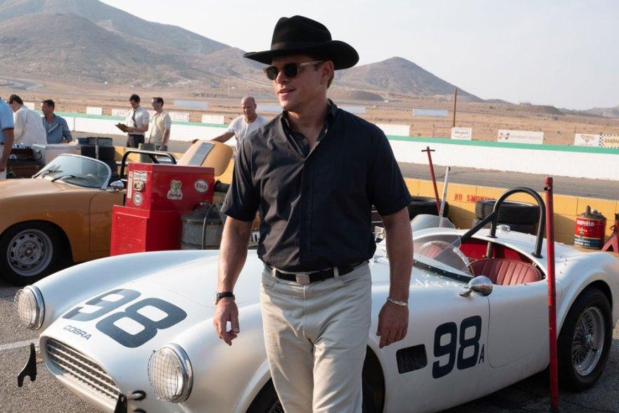 Carrol Shelby (Matt Damon) en el circuito de Le Mans durante el rodaje de la película : Fuente- Disney Company