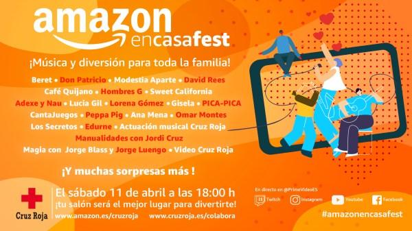 Cartel del #AmazonEnCasaFest. // Fuente: Amazon