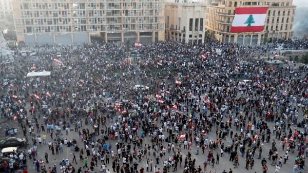 Manifestación en Beirut (Líbano) contra la élite política