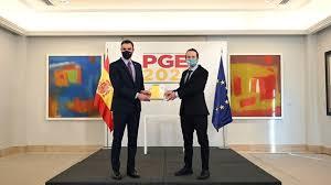 Pedro Sánchez y Pablo Iglesias en la presentación de los presupuestos