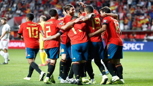 Celebración de un gol de España.
