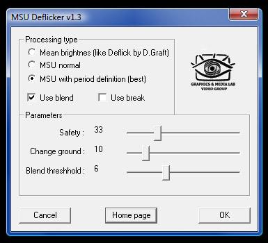 Cuadro de diálogo de MSU Deflicker