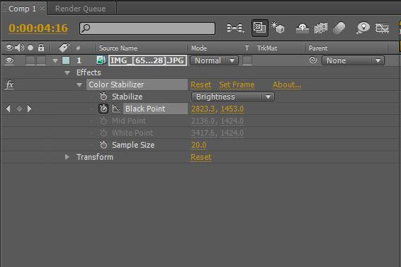 "Settings del filtro ""Color Stabilizer"" de After Effects"