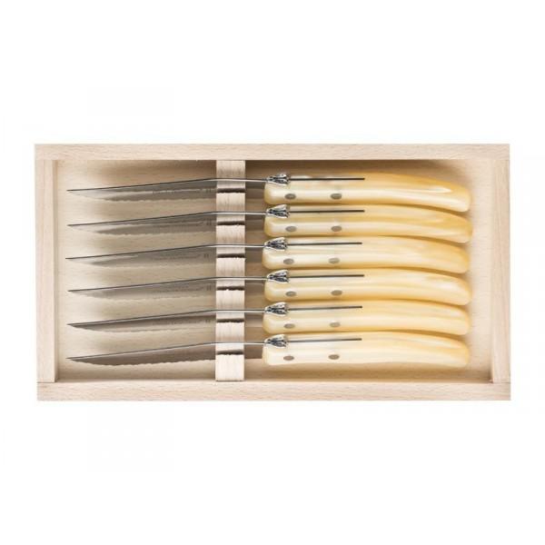 coffret 6 couteaux manche nacrine naturel laguiole c dozorme