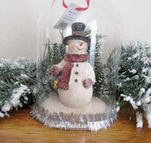 Raz Snowman in a Dome Christmas Ornament