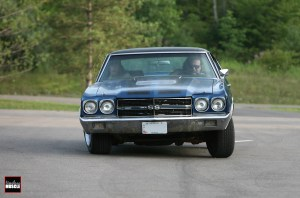 We baselined the Chevelle at a nearby parking lot close to our shop. As you can see in the photo. the body roll is diabolical.