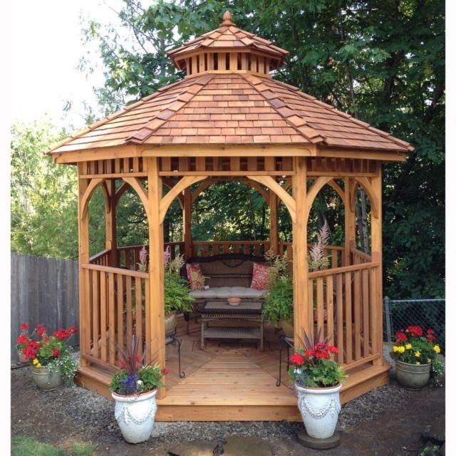 25 Inspirations of Round Gazebo on Outdoor Patio Pavilion id=27904
