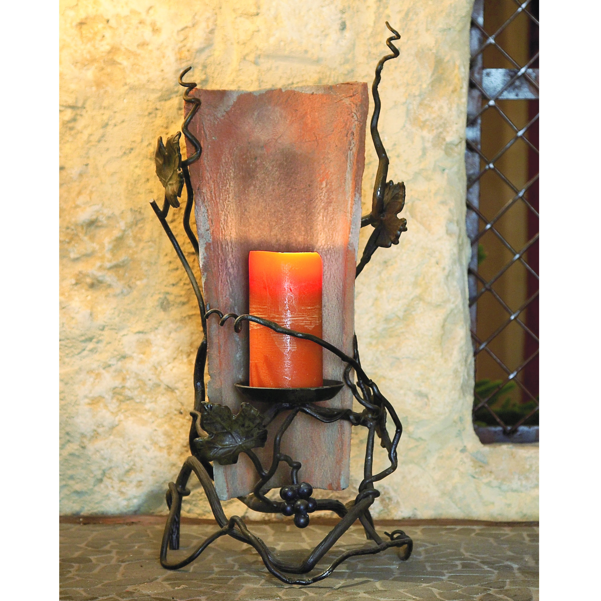Wrought Iron Tile Candle Holder by Bella Toscana on Antique Wrought Iron Wall Candle Holders id=18935