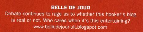scan of belle de jour text from face magazine