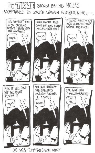 todd mcfarlane cartoon about neil gaiman and spawn #9