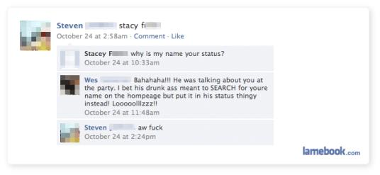Why is my name in your status?