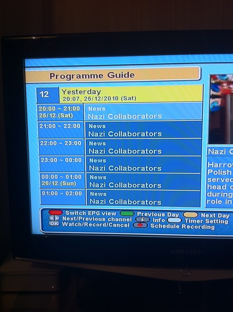 Yesterday TV Christmas Night Fail -- Nazi Collaborators All Nighter
