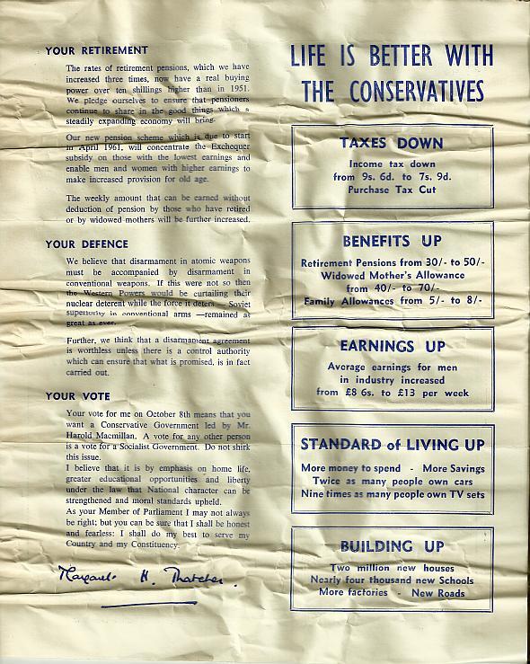 1959 Margaret Thatcher General Election Leaflet