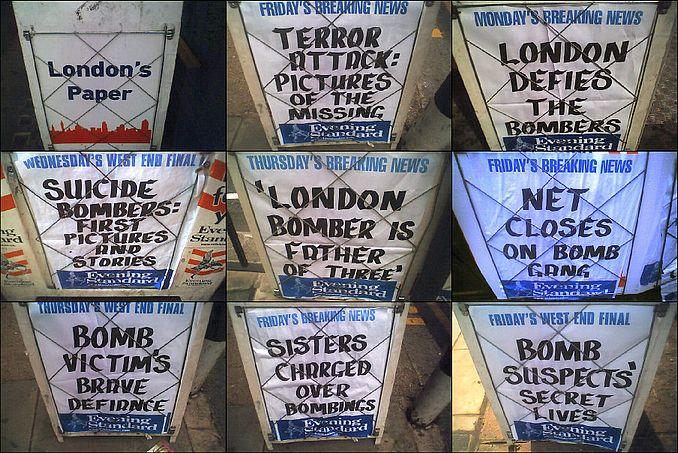 Evening Standard - 7/7 Bombing Headlines