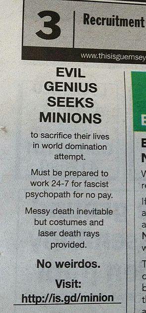 Evil Genius Seeks Minions