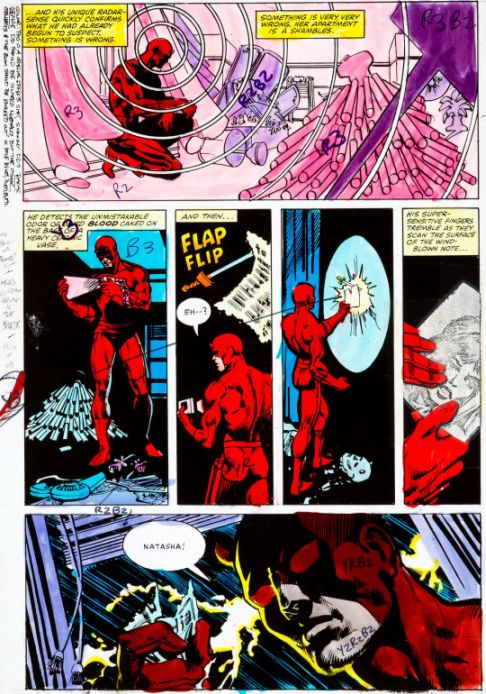 Hand painted Daredevil Colour Guides by Frank Miller