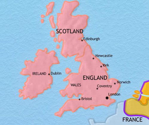 Map Mary I England Rule