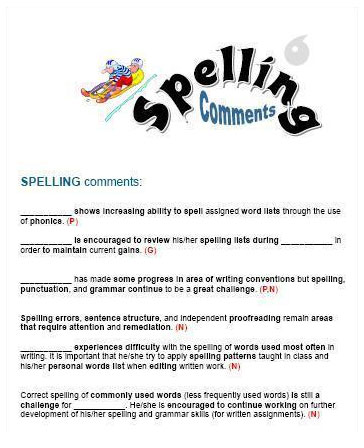 Spelling Report Card Comments | Spelling Practice Forms
