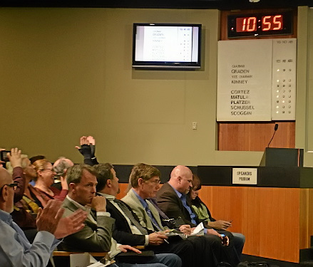 Vallejo Marine Terminal and Orcem officials in the front row react after the planning commission voted 6-1 in March 2017 to reject the proposed project. – John Glidden — Times-Herald file