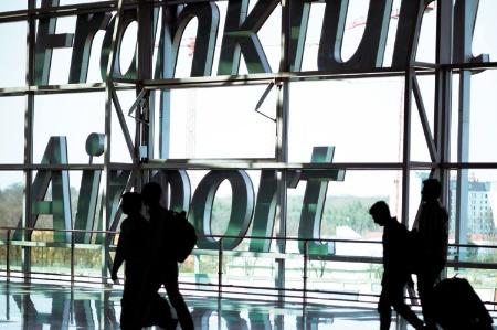 Travellers at Frankfurt Airport
