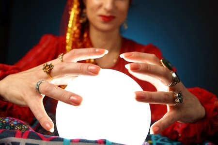 Woman with crystal ball