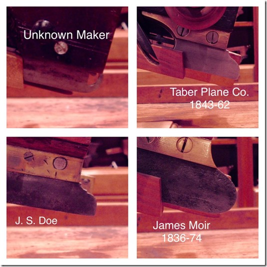 Unknonwn Maker, Taber Plane Co, J.S.Doe, James Moir
