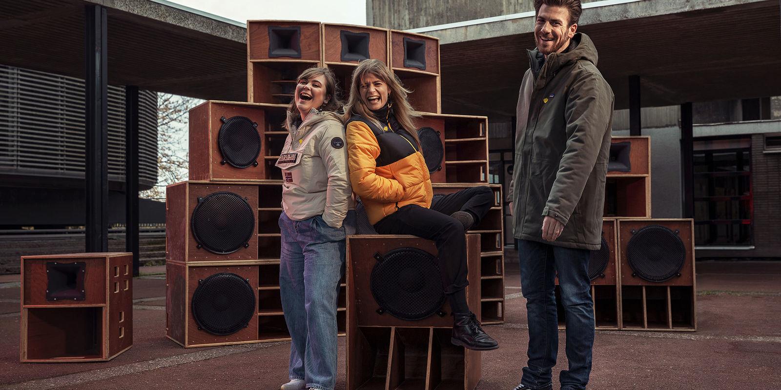 3 presentatoren van De Warmste Week 2019 van Studio Brussel in Kortrijk ©Studio Brussel