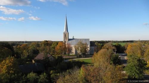 Nissi Maarja kirik, aerofoto, 30m pealt