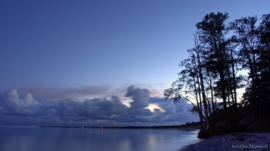 Järve ranna öö siluett
